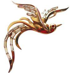 "Vintage 1950 Trifari Bird In Flight Brooch/Pin ""Birds In Flight""... ($135) ❤ liked on Polyvore featuring jewelry, brooches, trifari brooch, trifari, vintage pins brooches, trifari jewelry and vintage jewellery"