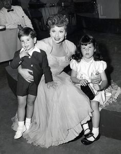 lucille ball with her children, Desi Arnaz Jr. and Lucie Arnaz.
