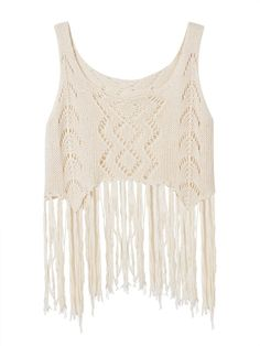 Sale 27% (10.99$) - Sexy Women Sleeveless Hollow Tassels Knitted Tank Top