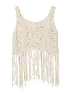 Sale 27% (10.99$) - Sexy Women Sleeveless Hollow Tassels Knitted Tank Top