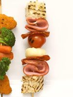 Kiddie Kabobs  --  Nothing's more fun than food on a stick. We came up with grilled and no-cook skewer combos that even picky eaters will go for.  go to link:   http://www.parents.com/recipes/cooking/kid-friendly-food/kiddie-kabobs/