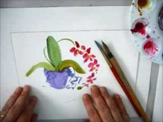 How to Paint a Modern Sumi-e Style Orchid Plant in Watercolors with Marionette Watercolor Video, Watercolor Flowers, Watercolor Paintings, Original Paintings, Sumi E Painting, Chinese Painting, Silk Painting, Orchid Plants, Orchids