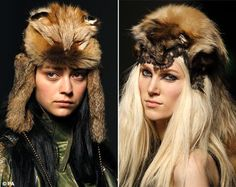 Jean-Paul Gaultier threw down the gauntlet to the anti-fur brigade last night, with an unashamed use of pelts and animal headwear in his Paris fashion week show. Fox Head, Fur Fashion, Paris Fashion, Fantasy Hair, Creative Hairstyles, John Paul, Catwalk, Winter Hats, Dreadlocks