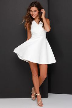 Ivory Dress - Skater Dress - Fit-and-Flare Dress - White Dress - $89.00
