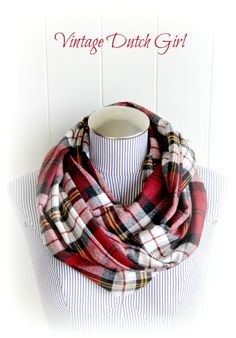 Red Plaid Infinity Scarf, Stylish Country Chic Fashion Mobius Scarf. $22.99, via Etsy.