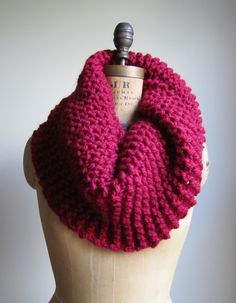 Cranberry Red Chunky Knit Cowl Scarf