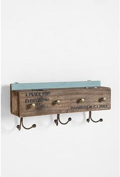Everything In Its Place Wall Hook $39.  Personally I wouldn't buy this exact item BUT, I think it is a brilliant idea, has a hinged lid that lifts up to reveal extra storage space.  Love the text as well.  Now I just need a carpenter friend.. LOL.