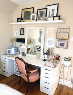 Brooke said one of the biggest challenges she faced while decorating her room was showcasing her favorite items without it feeling too cramped. To help with this, she indulged in a large desk from…More My New Room, My Room, Girl Room, Bedroom Desk, Dream Bedroom, Diy Bedroom, Small Space Bedroom, Small Spaces, Study Room Design