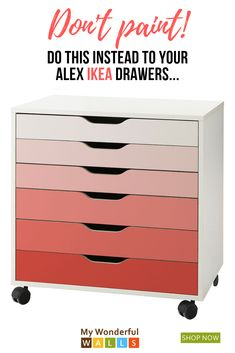 Pink Ombre Pattern Decal Set for IKEA Alex Drawer Unit Don't you just LOVE this pink ombre look? Baby Nursery Diy, Baby Nursery Furniture, Ikea Furniture, Diy Baby, Baby Room, Rangement Makeup, Ikea Alex Drawers, Ikea Storage, Craft Storage