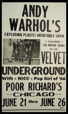 Andy Warhol's - Velvet Underground, Nico, Poor Richard's, Chicago