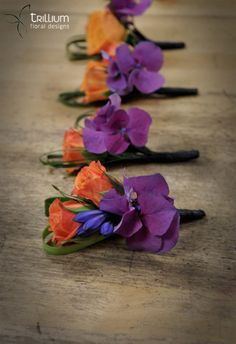 Purple and Orange Wedding Ideas | Bright colours are a great choice for boutonnieres so they stand out ...