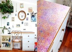 Glitter covered desk tutorial. I think it's a bit much as an entire desk, but I could see doing something small. Maybe a jewelry box or a mirror frame.