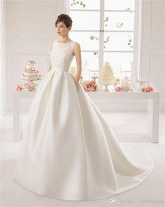 Wholesale 2015 Wedding Dresses - Buy 2015 Aire Barcelona Bateau Satin Wedding Dresses Bowknot Covered Backless Sleeveless Embridery White Sweep Train Ballgown Bridal Dresses, $188.49 | DHgate