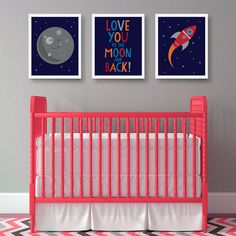 Set of three art prints for the nursery in a space theme