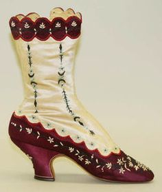 I adore these cream and burgundy hued 1880s scalloped top boots. #Victorian #vintage #shoes