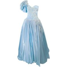 Preowned Nolan Miller Sky Blue Gown With One Shoulder And Floral... (18.270 DKK) ❤ liked on Polyvore featuring dresses, gowns, blue, long-sleeve floral dresses, blue vintage dress, blue floral dress, blue evening dresses and lace gown