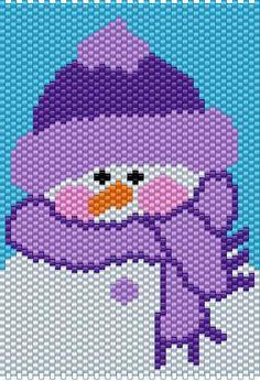 purple snow man | PURPLE SNOWMAN BEADED BANNER 2012