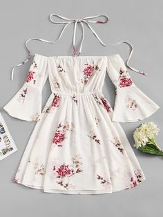 Shop Fluted Sleeve Floral Print Halter Dress at ROMWE, discover more fashion styles online. Cute Girl Outfits, Girly Outfits, Pretty Outfits, Pretty Dresses, Beautiful Dresses, Skater Outfits, Skater Dresses, Disney Outfits, Girls Fashion Clothes