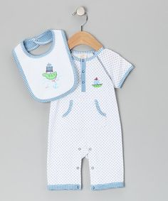 Take a look at this White & Blue Big Sea Playsuit & Bib - Infant by Absorba on #zulily today!