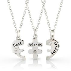 Best Friends Forever Three Part Necklace, Friendship Necklace Includes Beautiful Gift Bag For Each Necklace., 2015 Amazon Top Rated Beauty & Fashion #Jewelry