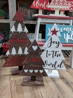 joy to the world wooden christmas tree trio / red white holiday decor set / rustic holiday / whimsic Wooden Christmas Crafts, Wooden Christmas Decorations, Pallet Christmas Tree, Christmas Tree Design, Christmas Signs, Rustic Christmas, Christmas Projects, Holiday Crafts, Christmas Ornaments