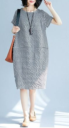 Women loose fit plus over size pocket dress checkered tunic casual fashion chic #unbranded #dress #Casual