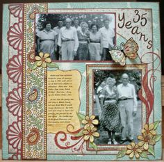 35 Years ~ Scrap a page about a special anniversary! Love the punched border and fussy cutting.