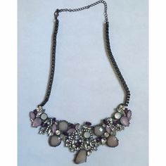 HPBeautiful statement necklace Beautiful purple statement necklace with dark grey chain. HP best in jewelry Jewelry Necklaces