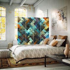 Trójkąty wzór, Parawan ozdobny dwustronny na płótnie - Canvas