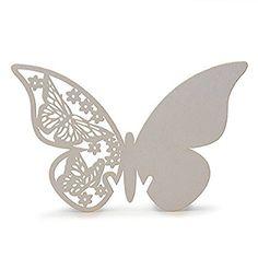 50 Stück 3D Schmetterlinge Weiß Tischkarten Platzkarten Namenskarten Hochzeit: Amazon.de: Küche & Haushalt