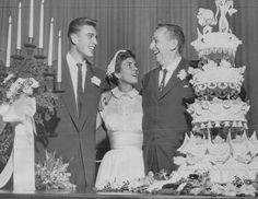 Film producer Walt Disney (right) congratulates his daughter Diane 20 RMiller 21 receptifollowing their marriage Montecito.