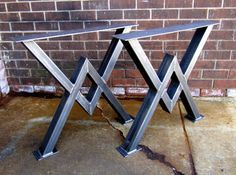 Dining Table Legs Industrial Legs Set of 2 by MetalAndWoodDesign