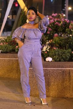 Jumpsuit: Shein( Shop Here ), pumps: Charlotte Russe: sold out( Similar Here ) Casual Work Outfits, Work Casual, Church Outfits, Church Clothes, Off Shoulder Jumpsuit, Trouser Outfits, Striped Jumpsuit, Dress Me Up, African Fashion