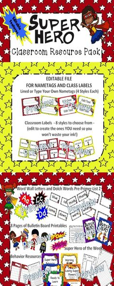 Everything you need to easily set up a super hero classroom theme. Best of all... this purchase includes a file with editable resources (nametags and classroom labels) so you can make this resource truly fit your needs!Includes the following resources with a super hero twist:-Word Wall Letters and Dolch Word Cards (Pre-Primer-List 2 with additional blank cards), Behavior Resources Super Hero of The Week, Bulletin Board Printables, Nametags and Labels