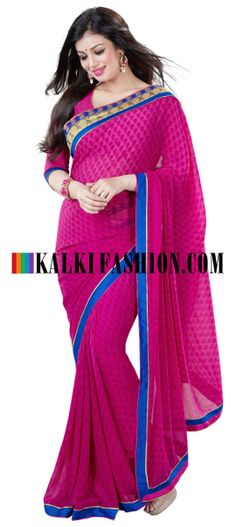 Buy Online from the link below. We ship worldwide (Free Shipping over US$100) http://www.kalkifashion.com/pink-printed-saree-with-embroidered-border.html Pink printed saree with embroidered border