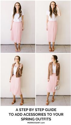 A Step By Step Guide for Putting Together Three Spring Outfits . - A Step By Step Guide for Putting Together Three Spring Outfits - Outfits Mujer, Spring Fashion Outfits, Skirt Fashion, Valentine's Day Outfit, Cute Blouses, Fashion Essentials, Mode Inspiration, Mode Outfits, Mom Style