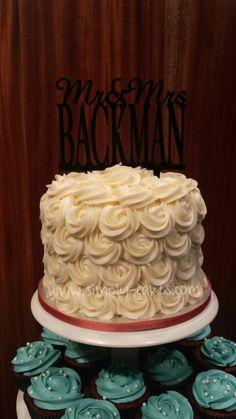 Rosettes wedding cake with cupcakes Www.facebook.com/simplycakes.brittneyshiley
