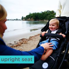 The upright position in our prams is exactly how it should be, upright! Our prams are ergonomically designed so that when your child is discovering the world, no slouched seat can stop her.