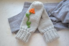 Grey wool color mittens cozy warm gloves with by ShopLaLune, $34.50
