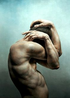 """Struggle IV"" - Truls Espedal; Norway {contemporary figurative realism art male muscular torso standing man profile cropped painting}"