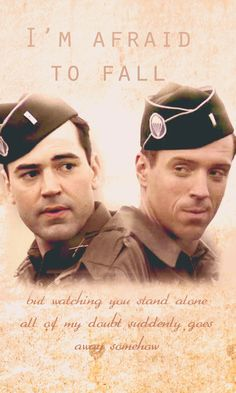 Band Of Brothers Damien Lewis Ron Livingston.  I think I've been seriously remiss in not having watched this. Should get on it immediately.