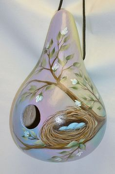 Birds Nest Gourd Birdhouse  Hand Painted by FromGramsHouse on Etsy