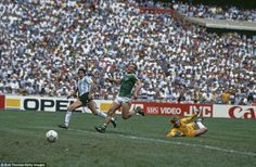 Argentina's Jorge Burruchaga scores the winning goal in the 1986 World Cup final as West G...