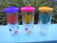 Personalized Monogram Tervis Tumbler. $25.00, via Etsy. - Love the one on the right, just needs a different color lid