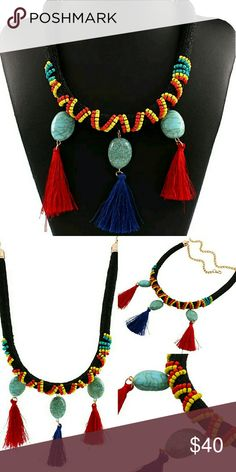 """Gorgeous Seed Bead Turquoise & Tassel Necklace Amazing piece for Boho, festival, coachella sewn seed bead and rope statement necklace approx. 30"""" adjustable length plus approx. 3"""" long faux Turquoise and Tassel drops. Rasta color base. Gold tone finishes and lobster claw. Jewelry Necklaces"""
