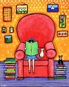 A great Sunday afternoon with reading / Una estupenda tarde de domingo con la lectura (ilustración de Shelagh Duffett)