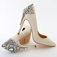 Badgley Mischka Gorgeous Wedding Shoes, Ivory. The classic stiletto taken to sparkling new heights in the perfect shade of ivory for brides.
