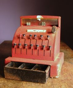Vintage Red Toy Cash Register