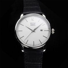 uq montre quartz-unisexe-a3 v-cadran blanc-bracelet cuir