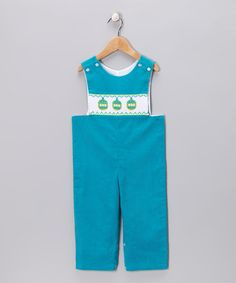 Turquoise Ornament Corduory Overalls  by Shine by Castles & Crowns on #zulily today!